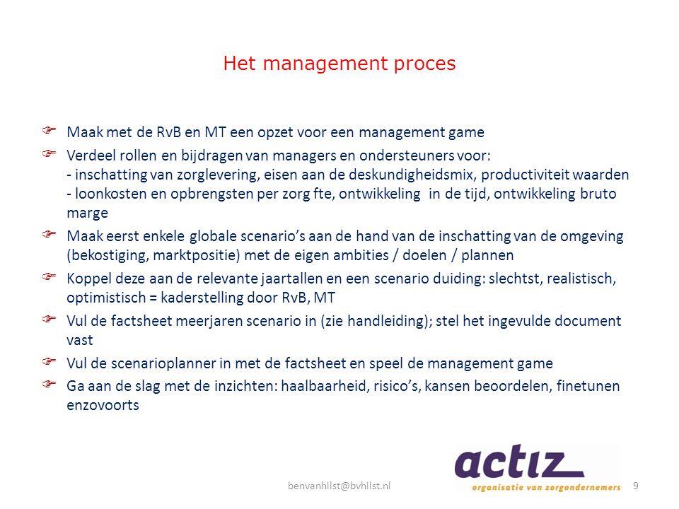 Het management proces  Maak met de RvB en MT een opzet voor een management game  Verdeel rollen en bijdragen van managers en ondersteuners voor: - i