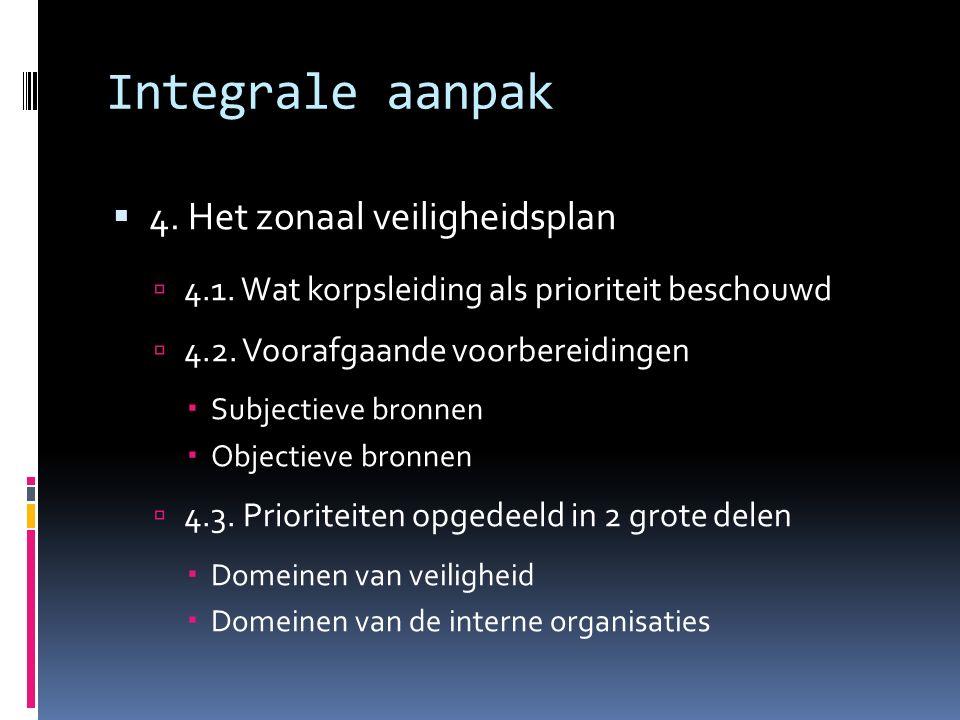 Integrale aanpak  4. Het zonaal veiligheidsplan  4.1.