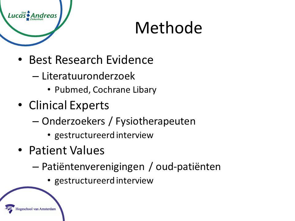 Methode Best Research Evidence – Literatuuronderzoek Pubmed, Cochrane Libary Clinical Experts – Onderzoekers / Fysiotherapeuten gestructureerd interview Patient Values – Patiëntenverenigingen / oud-patiënten gestructureerd interview