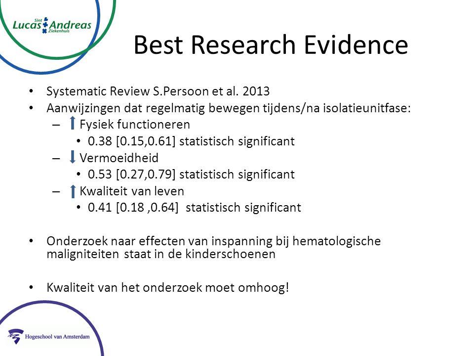 Best Research Evidence Systematic Review S.Persoon et al. 2013 Aanwijzingen dat regelmatig bewegen tijdens/na isolatieunitfase: – Fysiek functioneren