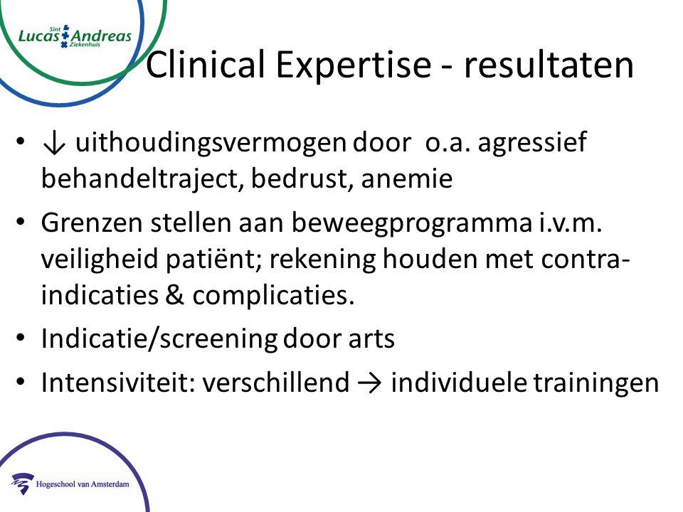 Clinical Expertise - resultaten ↓ uithoudingsvermogen door o.a.