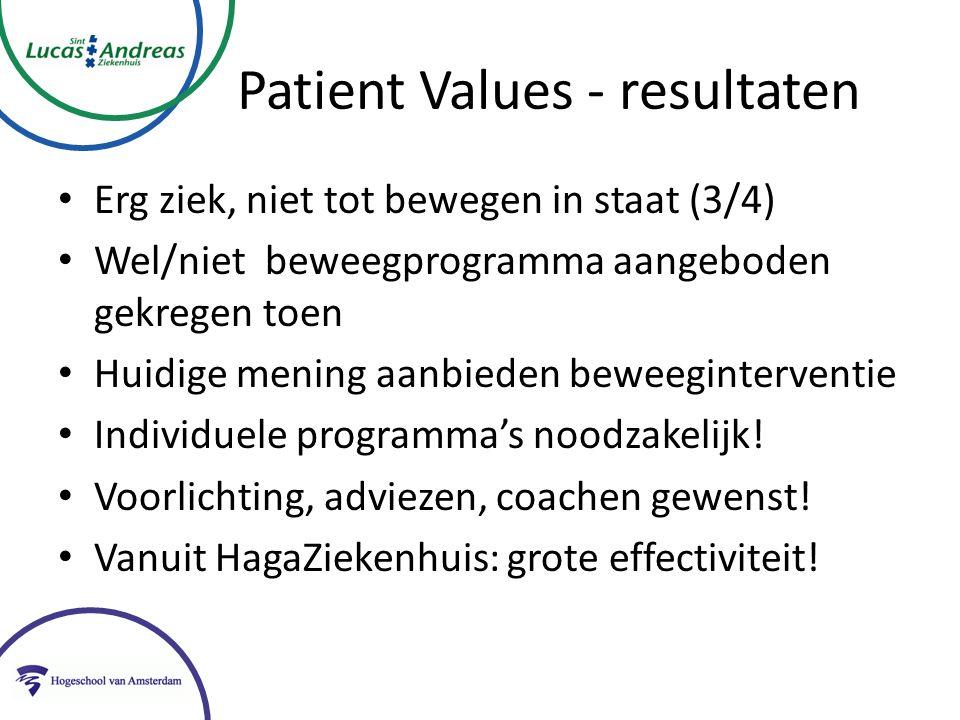 Patient Values - resultaten Erg ziek, niet tot bewegen in staat (3/4) Wel/niet beweegprogramma aangeboden gekregen toen Huidige mening aanbieden beweeginterventie Individuele programma's noodzakelijk.