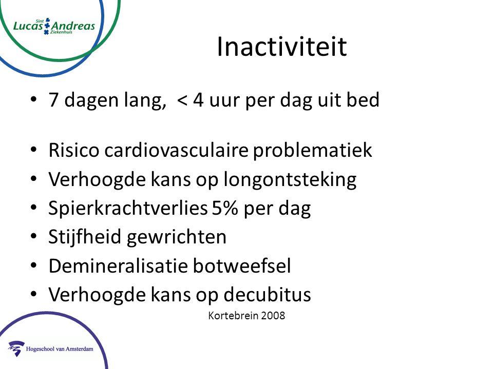 Inactiviteit 7 dagen lang, < 4 uur per dag uit bed Risico cardiovasculaire problematiek Verhoogde kans op longontsteking Spierkrachtverlies 5% per dag Stijfheid gewrichten Demineralisatie botweefsel Verhoogde kans op decubitus Kortebrein 2008
