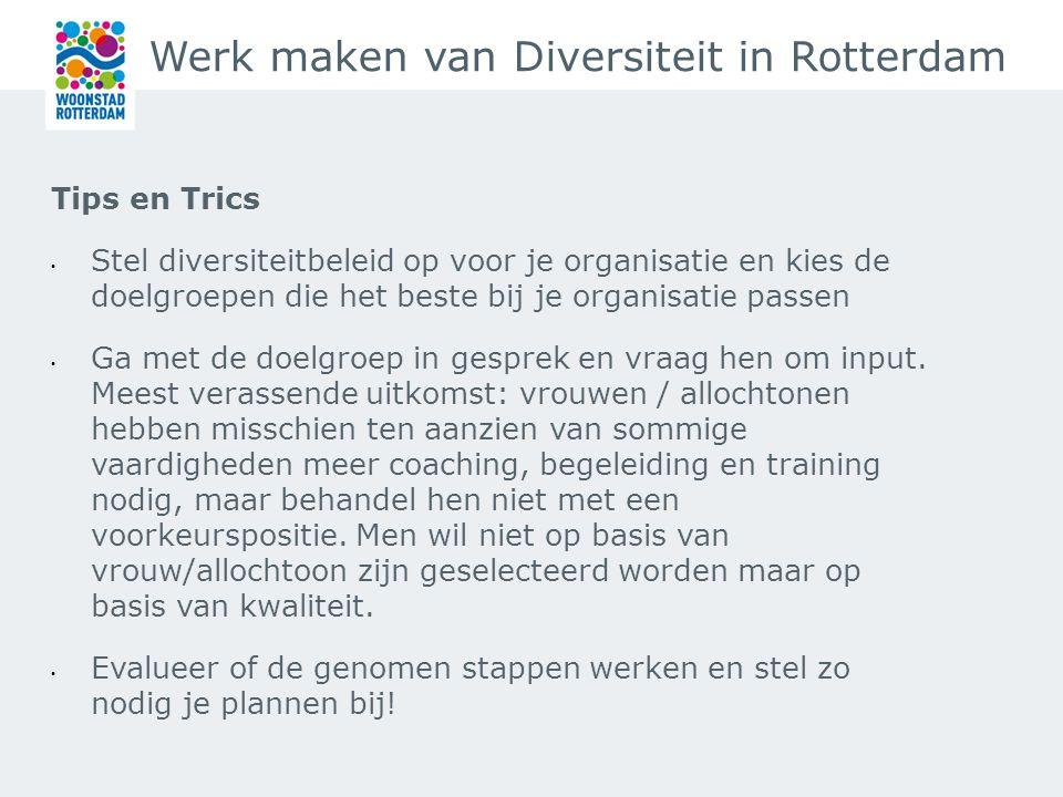 Werk maken van Diversiteit in Rotterdam Tips en Trics Stel diversiteitbeleid op voor je organisatie en kies de doelgroepen die het beste bij je organisatie passen Ga met de doelgroep in gesprek en vraag hen om input.