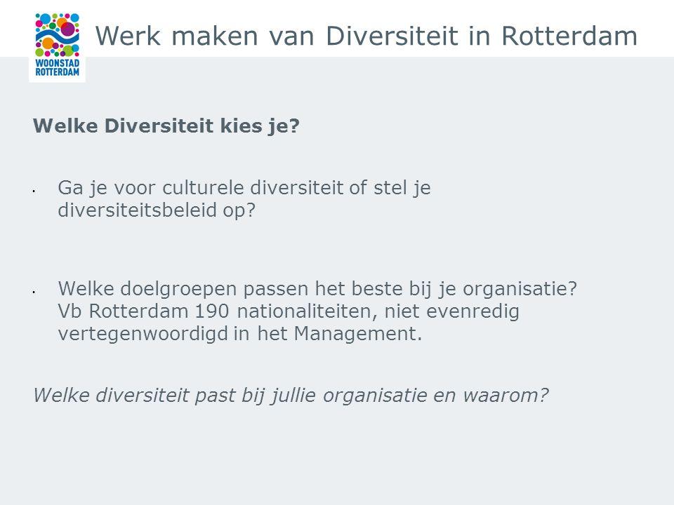 Werk maken van Diversiteit in Rotterdam Ga in gesprek met je doelgroep Organiseer een brainstorm over het onderwerp en laat je verassen: voorbeeld brainstorm diversiteit.