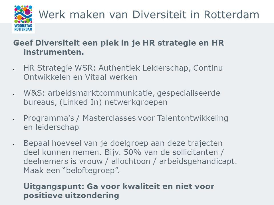 Werk maken van Diversiteit in Rotterdam Wat ging goed: Best practices Management Drives Authentiek leiderschap en Continu Ontwikkelen zijn onderdeel van HR strategie Talent naar de Top is onderdeel van diversiteitsbeleid Aandacht voor talentontwikkeling:Flow en Individueel Opleidingbudget Masterclasses voor leidinggevenden