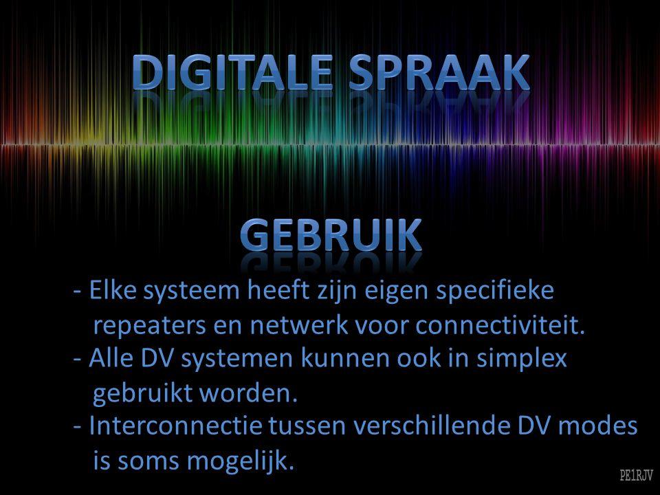 - Naast spraak is er in bijna alle modes ook een datakanaal beschikbaar.