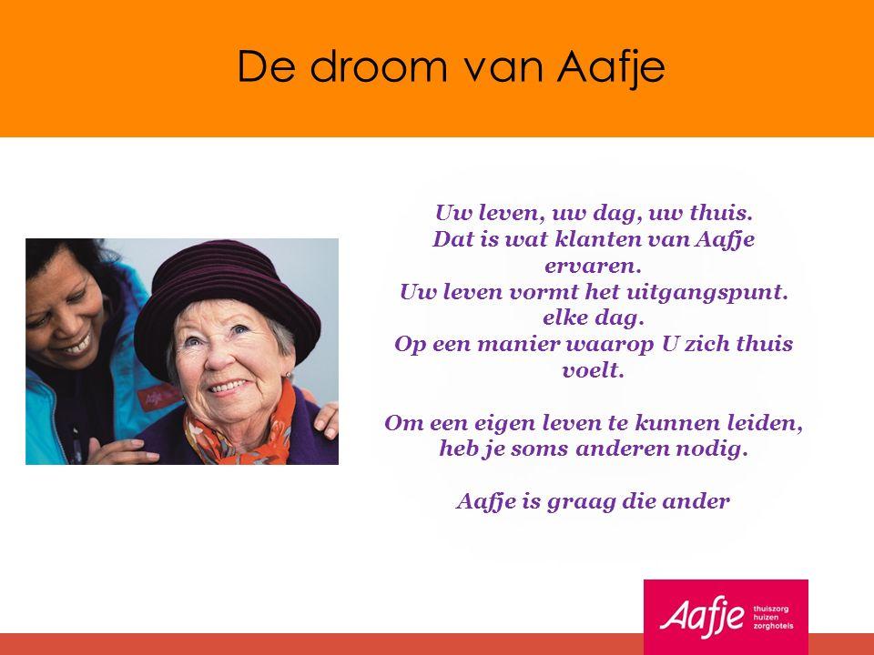De droom van Aafje Uw leven, uw dag, uw thuis. Dat is wat klanten van Aafje ervaren.