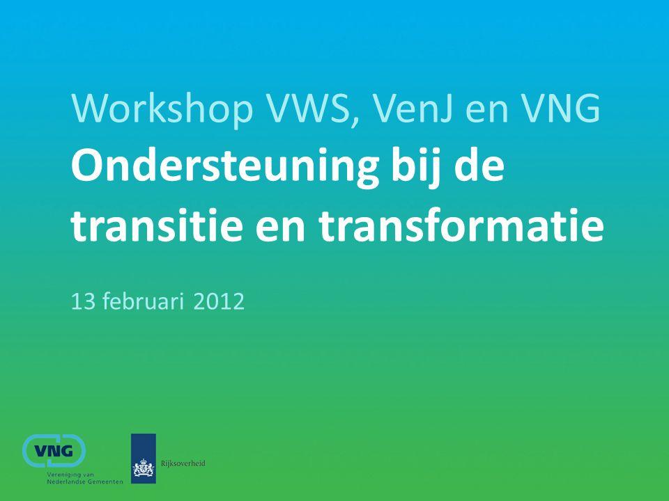 Workshop: opzet en inhoud Toelichting transitie-agenda/ruimte voor vragen Intro opzet ondersteuningsprogramma Discussie in deelgroepjes.