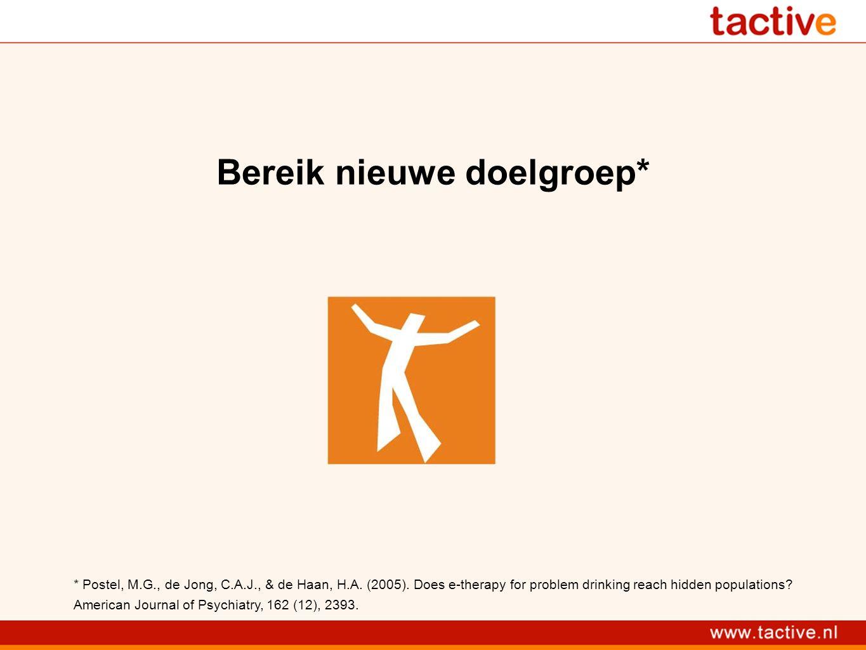 Bereik nieuwe doelgroep* * Postel, M.G., de Jong, C.A.J., & de Haan, H.A.
