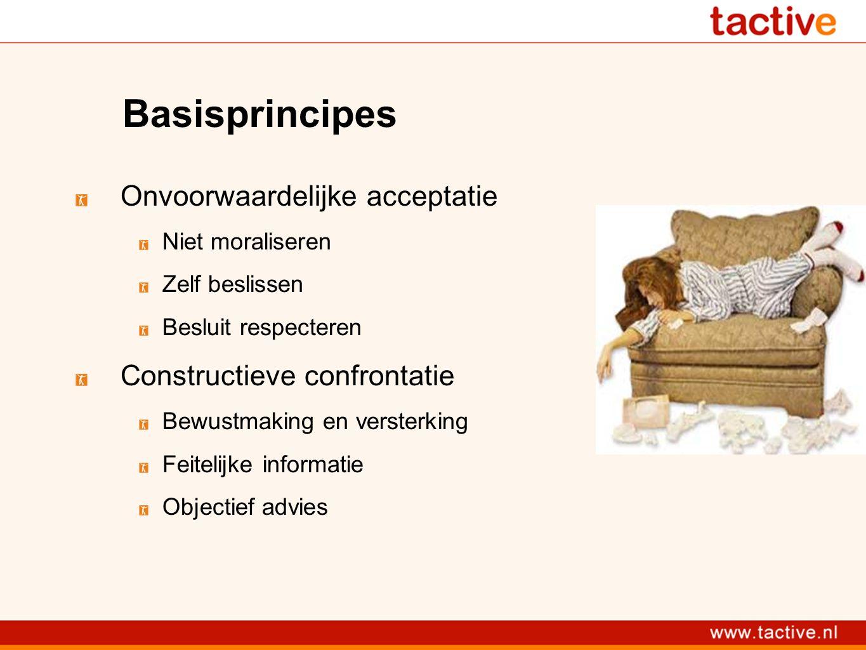 Basisprincipes Onvoorwaardelijke acceptatie Niet moraliseren Zelf beslissen Besluit respecteren Constructieve confrontatie Bewustmaking en versterking Feitelijke informatie Objectief advies