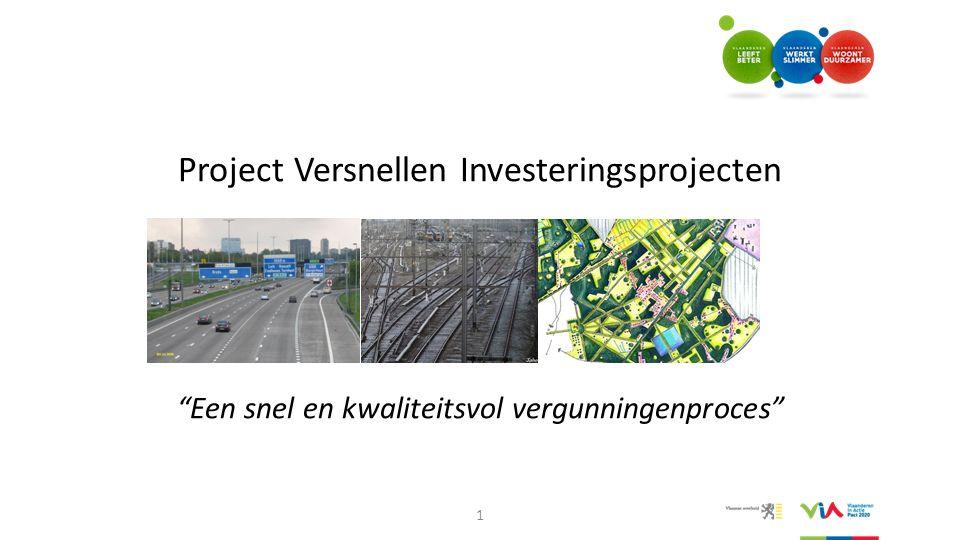 """Project Versnellen Investeringsprojecten """"Een snel en kwaliteitsvol vergunningenproces"""" 1"""
