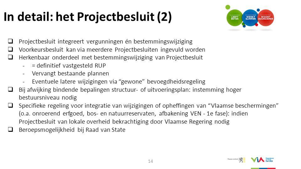 In detail: het Projectbesluit (2)  Projectbesluit integreert vergunningen én bestemmingswijziging  Voorkeursbesluit kan via meerdere Projectbesluite