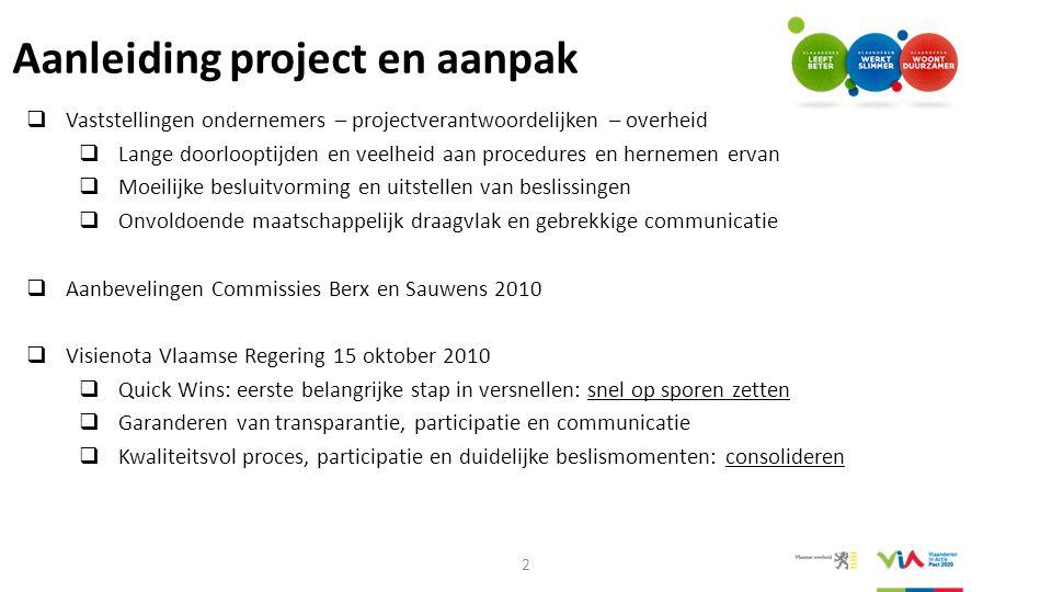 Procesaanpak: kwaliteit + snelheid  Proces uitgetekend in 2011 (tegelijk met Quick Wins)  Principes nieuwe procesaanpak: -Participatiebeginsel -Open communicatie en transparantie -Maatwerk inzake concrete invulling van proces -Geïntegreerde en oplossingsgerichte samenwerking -Gelijktijdige en geïntegreerde aanpak onderzoeken en inspraak -Procesregie die door actoren wordt gedragen  Evolutieve - indicatieve Procesnota concretiseert procesaanpak en kwaliteitsprincipes  Methodiek ter beschikking: Routeplanner 3