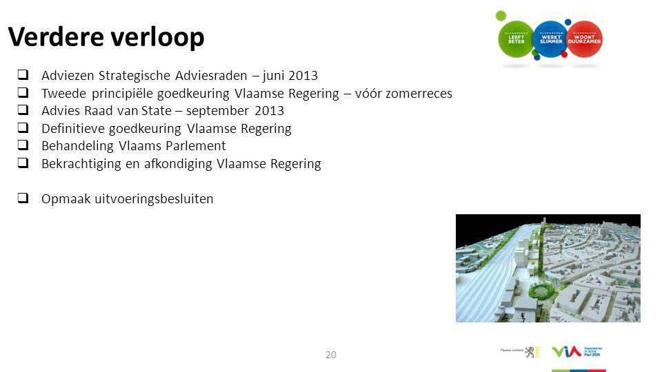 Verdere verloop  Adviezen Strategische Adviesraden – juni 2013  Tweede principiële goedkeuring Vlaamse Regering – vóór zomerreces  Advies Raad van