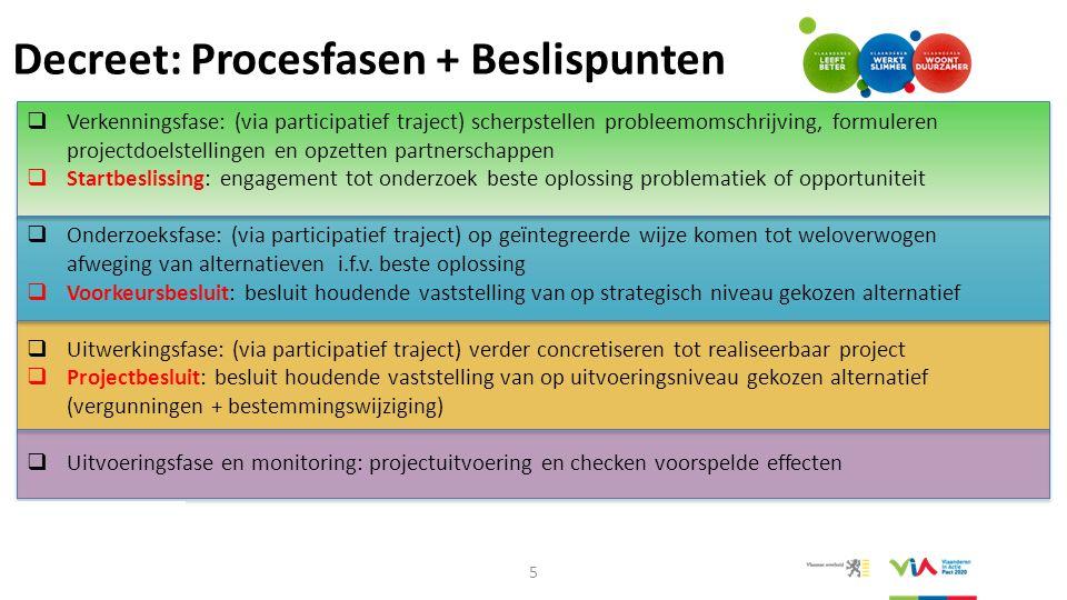 Decreet: Procesfasen + Beslispunten 5  Verkenningsfase: (via participatief traject) scherpstellen probleemomschrijving, formuleren projectdoelstellin