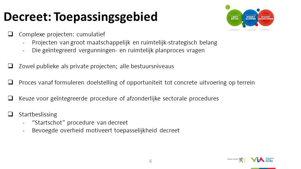 Decreet: Toepassingsgebied  Complexe projecten: cumulatief -Projecten van groot maatschappelijk en ruimtelijk-strategisch belang -Die geïntegreerd ve