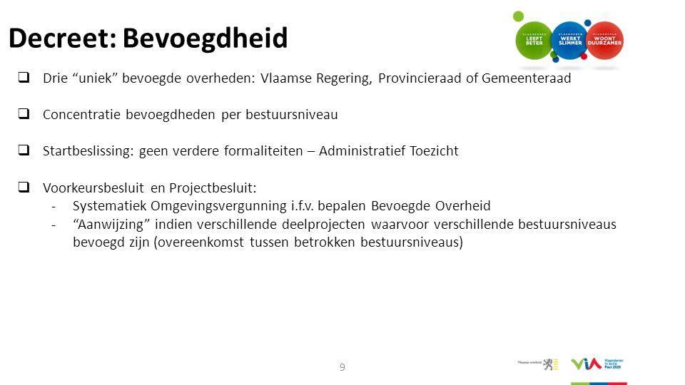 """Decreet: Bevoegdheid  Drie """"uniek"""" bevoegde overheden: Vlaamse Regering, Provincieraad of Gemeenteraad  Concentratie bevoegdheden per bestuursniveau"""