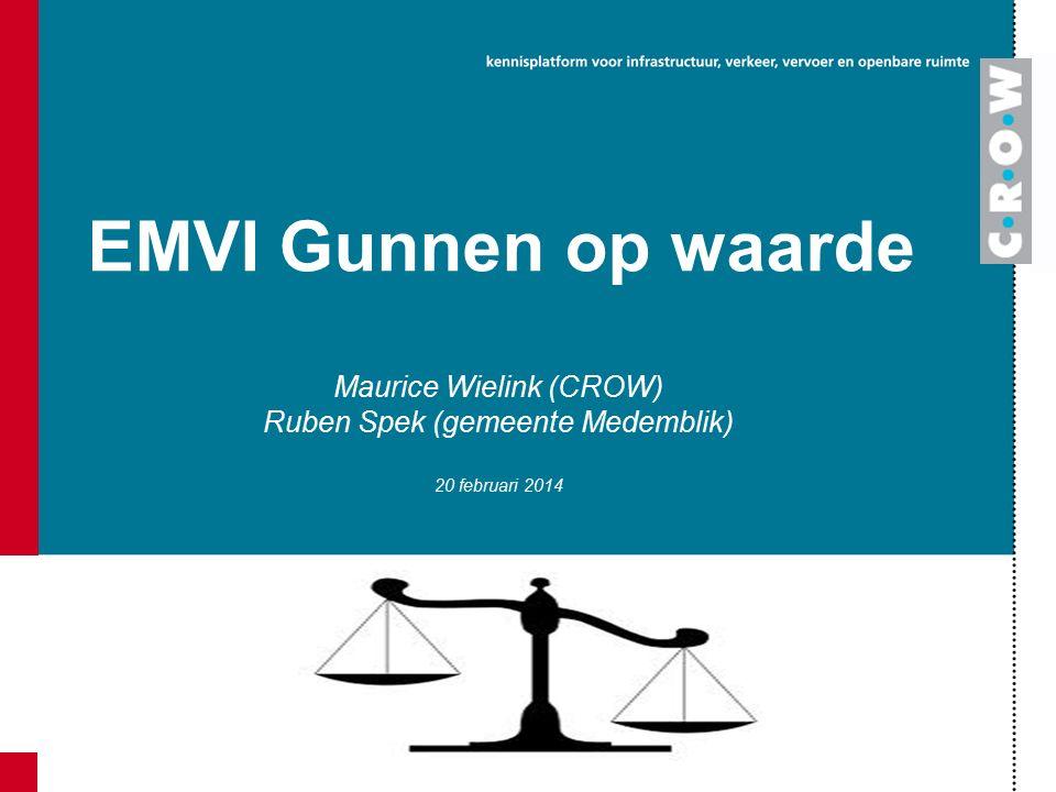 EMVI Gunnen op waarde Maurice Wielink (CROW) Ruben Spek (gemeente Medemblik) 20 februari 2014