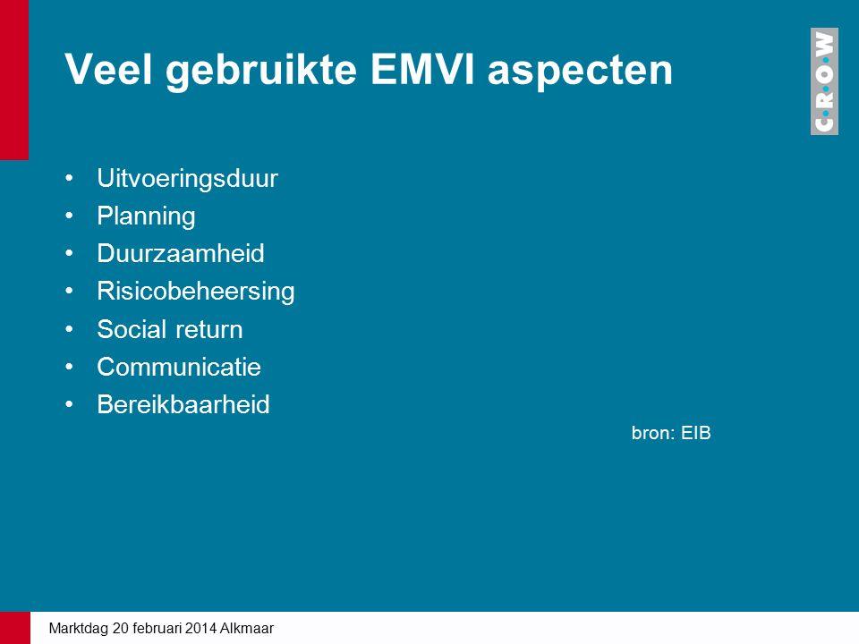 Veel gebruikte EMVI aspecten Uitvoeringsduur Planning Duurzaamheid Risicobeheersing Social return Communicatie Bereikbaarheid Marktdag 20 februari 201