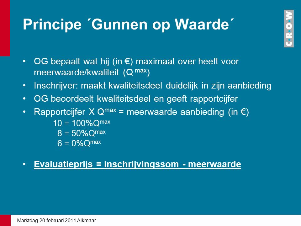 Principe ´Gunnen op Waarde´ OG bepaalt wat hij (in €) maximaal over heeft voor meerwaarde/kwaliteit (Q max ) Inschrijver: maakt kwaliteitsdeel duidelijk in zijn aanbieding OG beoordeelt kwaliteitsdeel en geeft rapportcijfer Rapportcijfer X Q max = meerwaarde aanbieding (in €) 10 = 100%Q max 8 = 50%Q max 6 = 0%Q max Evaluatieprijs = inschrijvingssom - meerwaarde Marktdag 20 februari 2014 Alkmaar