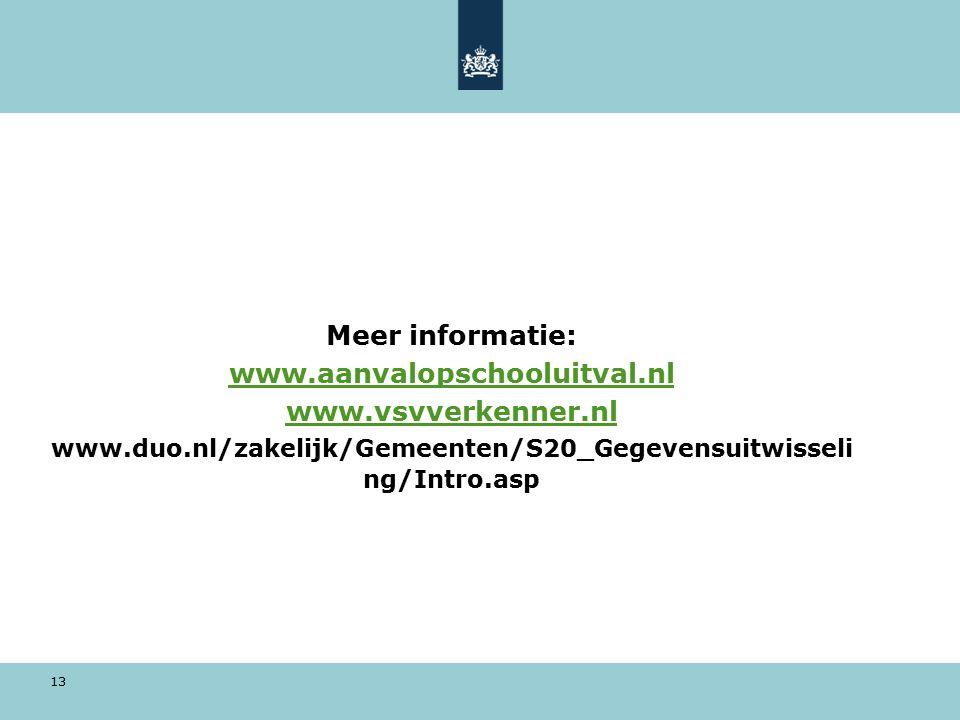 13 Meer informatie: www.aanvalopschooluitval.nl www.vsvverkenner.nl www.duo.nl/zakelijk/Gemeenten/S20_Gegevensuitwisseli ng/Intro.asp