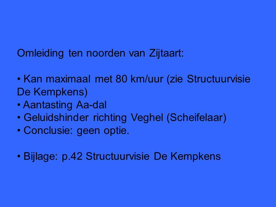 Omleiding ten noorden van Zijtaart: Kan maximaal met 80 km/uur (zie Structuurvisie De Kempkens) Aantasting Aa-dal Geluidshinder richting Veghel (Scheifelaar) Conclusie: geen optie.