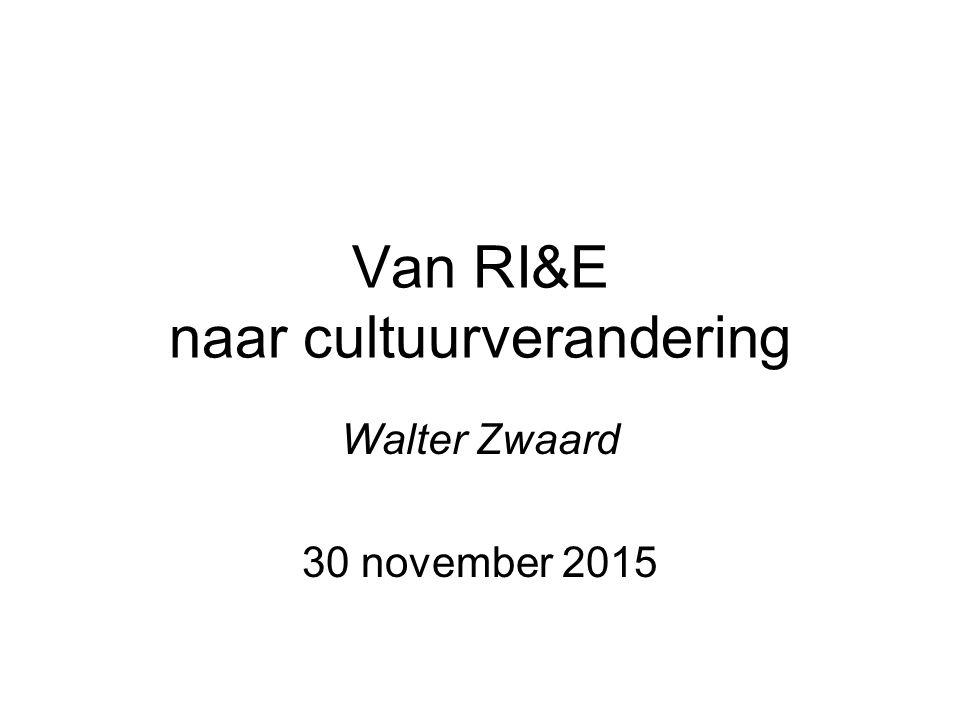 Van RI&E naar cultuurverandering Walter Zwaard 30 november 2015