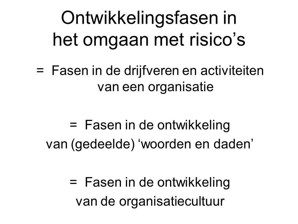 Ontwikkelingsfasen in het omgaan met risico's = Fasen in de drijfveren en activiteiten van een organisatie = Fasen in de ontwikkeling van (gedeelde) '
