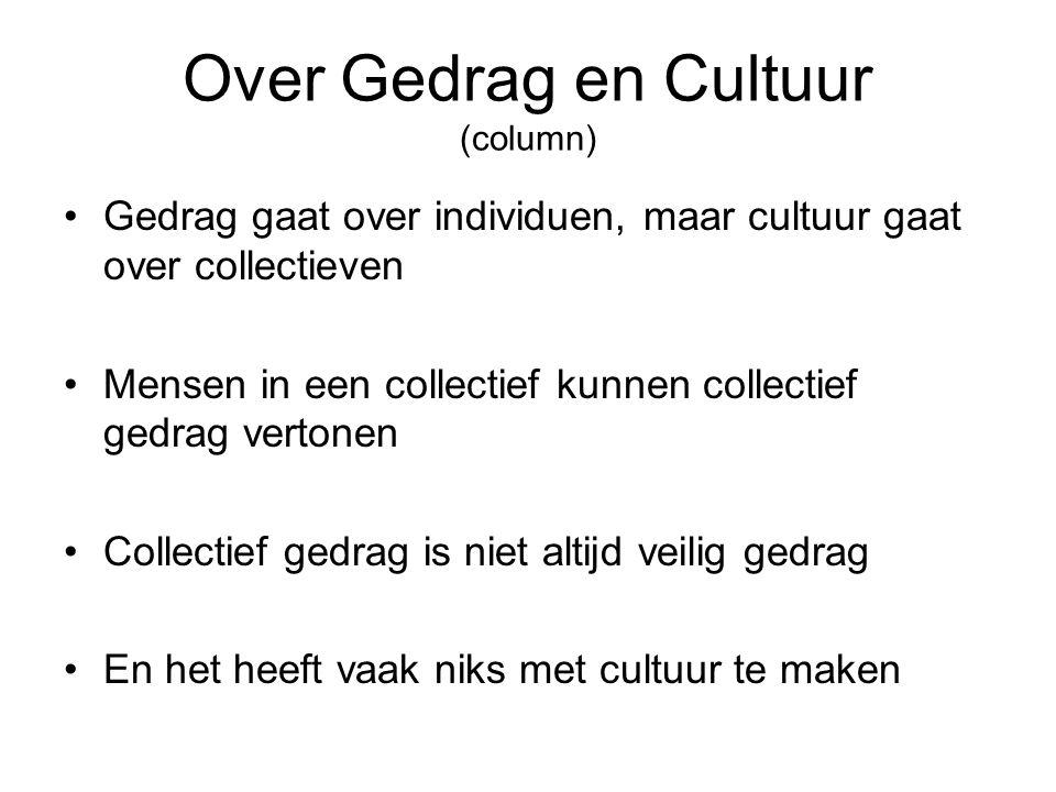 Over Gedrag en Cultuur (column) Gedrag gaat over individuen, maar cultuur gaat over collectieven Mensen in een collectief kunnen collectief gedrag ver