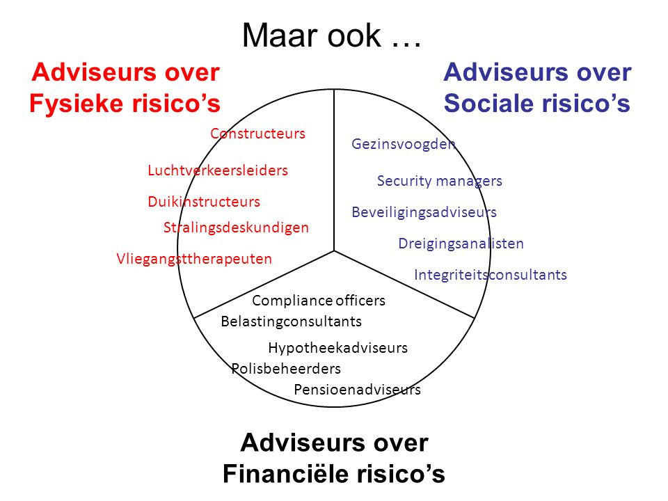 Adviseurs over Fysieke risico's Adviseurs over Sociale risico's Adviseurs over Financiële risico's Vliegangsttherapeuten Hypotheekadviseurs Belastingc