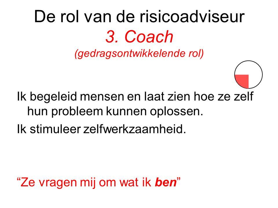 De rol van de risicoadviseur 3. Coach (gedragsontwikkelende rol) Ik begeleid mensen en laat zien hoe ze zelf hun probleem kunnen oplossen. Ik stimulee