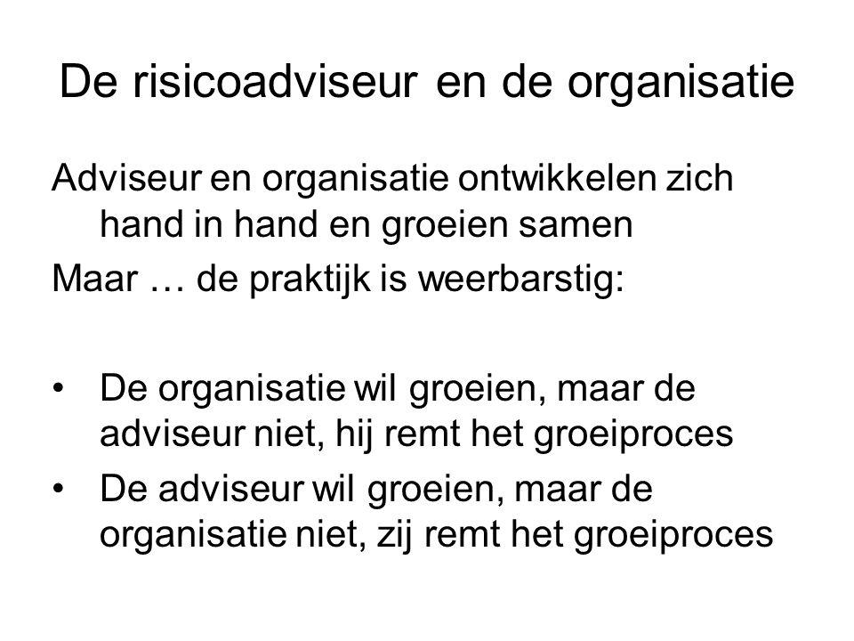 De risicoadviseur en de organisatie Adviseur en organisatie ontwikkelen zich hand in hand en groeien samen Maar … de praktijk is weerbarstig: De organ