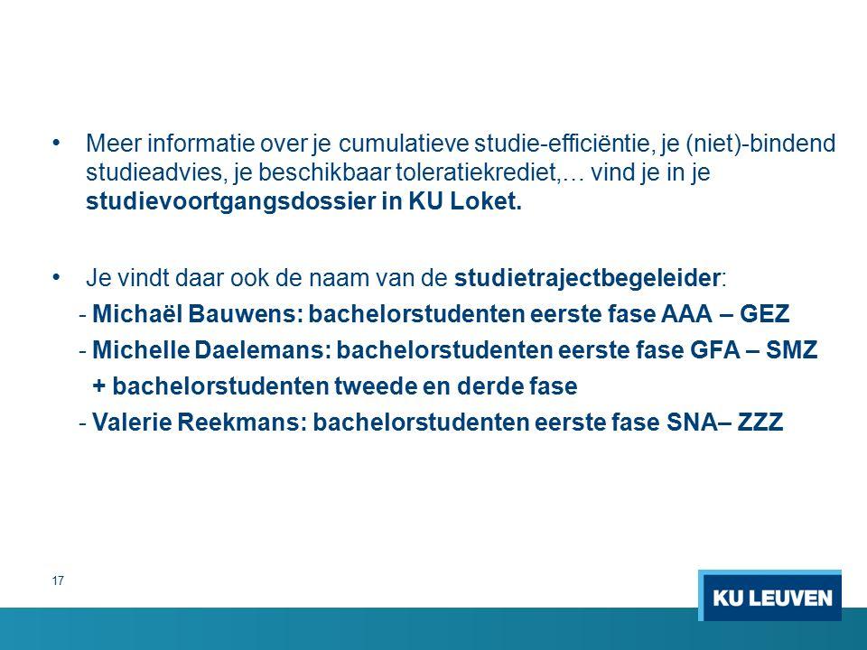 17 Meer informatie over je cumulatieve studie-efficiëntie, je (niet)-bindend studieadvies, je beschikbaar toleratiekrediet,… vind je in je studievoortgangsdossier in KU Loket.