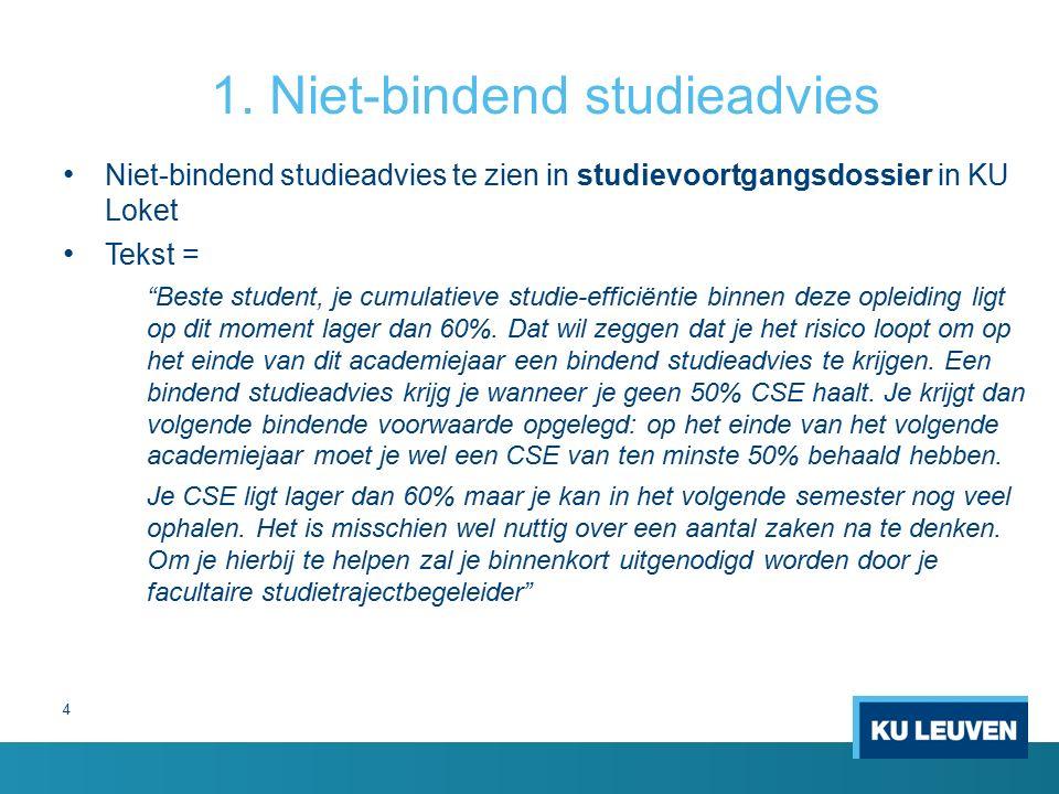 Niet-bindend studieadvies te zien in studievoortgangsdossier in KU Loket Tekst = Beste student, je cumulatieve studie-efficiëntie binnen deze opleiding ligt op dit moment lager dan 60%.