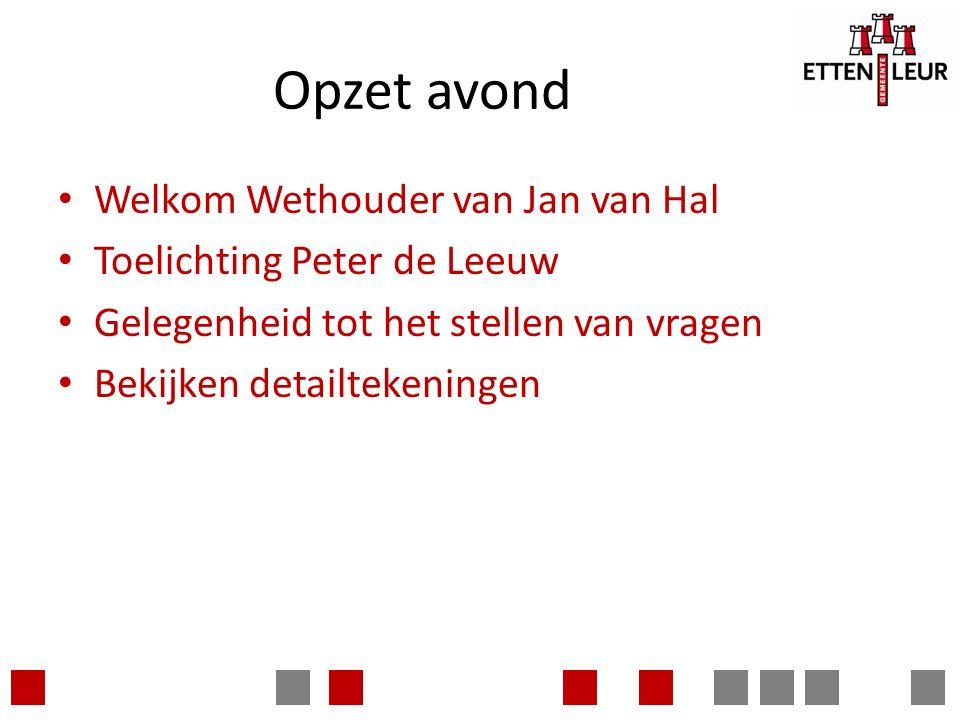 Opzet avond Welkom Wethouder van Jan van Hal Toelichting Peter de Leeuw Gelegenheid tot het stellen van vragen Bekijken detailtekeningen