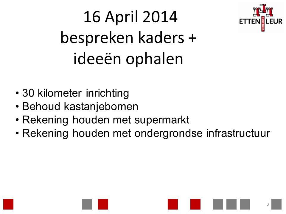 16 April 2014 bespreken kaders + ideeën ophalen 3 30 kilometer inrichting Behoud kastanjebomen Rekening houden met supermarkt Rekening houden met ondergrondse infrastructuur