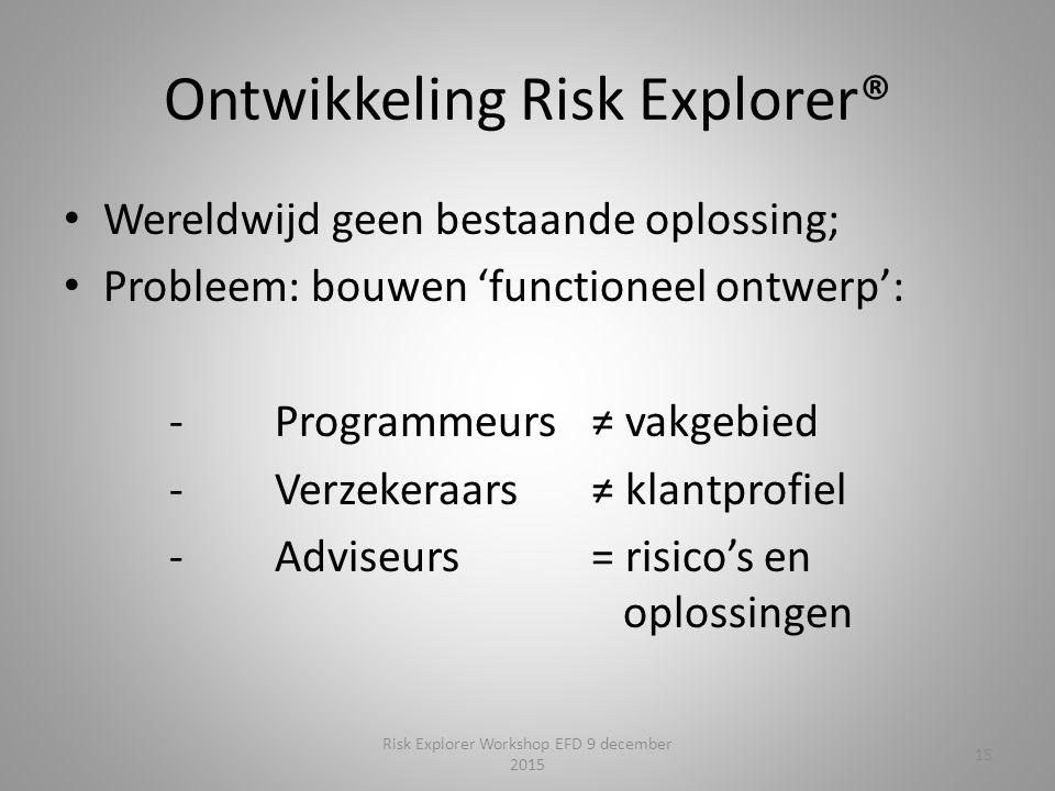 Ontwikkeling Risk Explorer® Wereldwijd geen bestaande oplossing; Probleem: bouwen 'functioneel ontwerp': -Programmeurs ≠ vakgebied -Verzekeraars ≠ klantprofiel -Adviseurs= risico's en oplossingen 15 Risk Explorer Workshop EFD 9 december 2015
