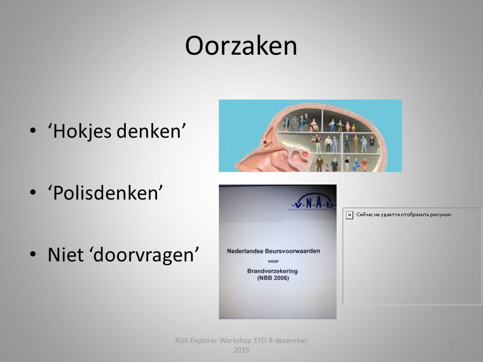 Oorzaken 'Hokjes denken' 'Polisdenken' Niet 'doorvragen' 9 Risk Explorer Workshop EFD 9 december 2015