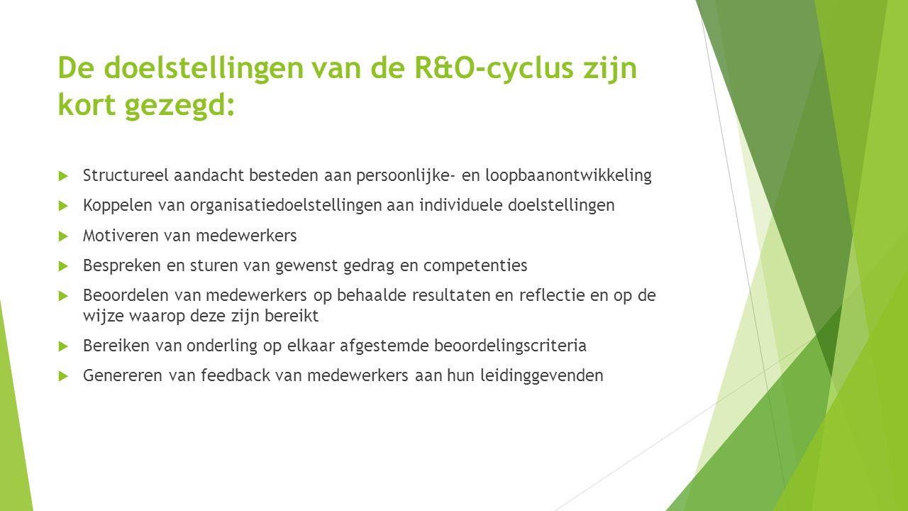 De doelstellingen van de R&O-cyclus zijn kort gezegd:  Structureel aandacht besteden aan persoonlijke- en loopbaanontwikkeling  Koppelen van organis