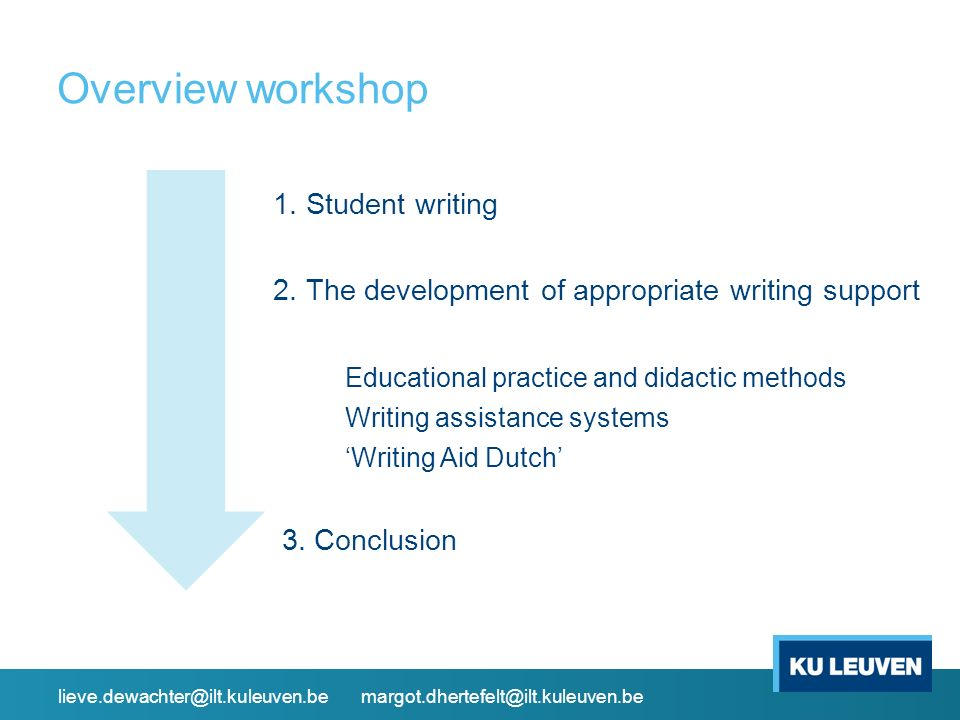 Overview workshop 1. Student writing 2. The development of appropriate writing support Educational practice and didactic methods Writing assistance sy