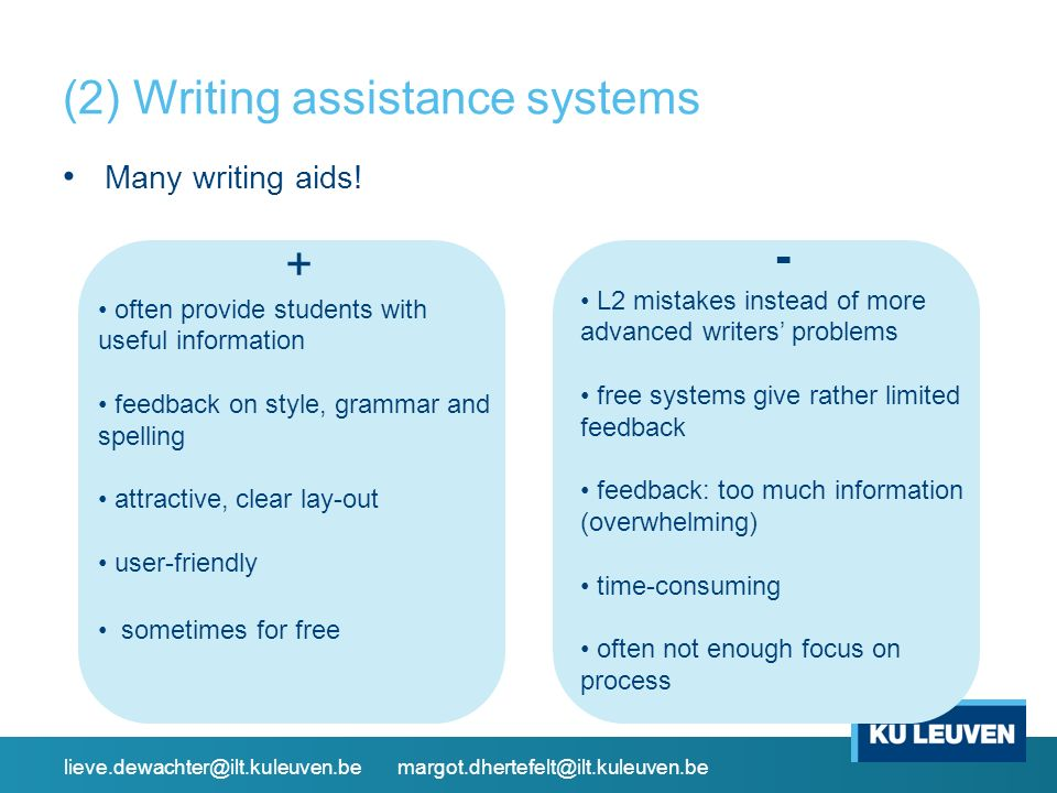 (2) Writing assistance systems Many writing aids.