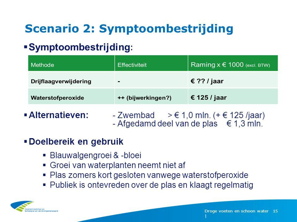 Scenario 2: Symptoombestrijding Droge voeten en schoon water | 15  Symptoombestrijding :  Alternatieven: - Zwembad > € 1,0 mln.