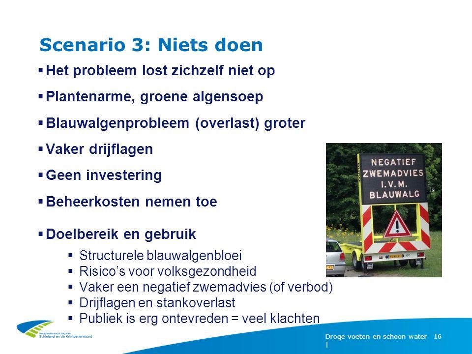 Scenario 3: Niets doen Droge voeten en schoon water | 16  Het probleem lost zichzelf niet op  Plantenarme, groene algensoep  Blauwalgenprobleem (ov