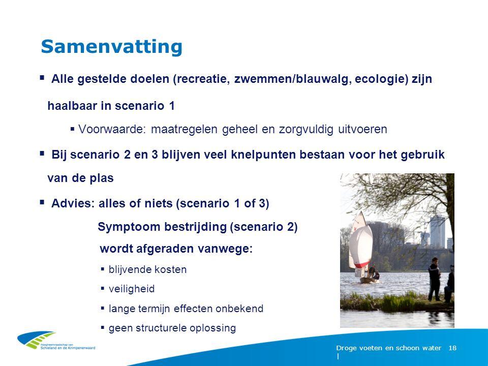 Samenvatting Droge voeten en schoon water | 18  Alle gestelde doelen (recreatie, zwemmen/blauwalg, ecologie) zijn haalbaar in scenario 1  Voorwaarde