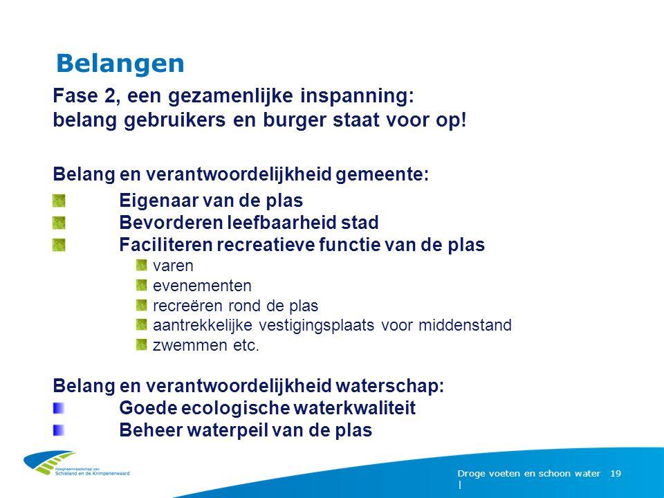 Belangen Droge voeten en schoon water | 19 Fase 2, een gezamenlijke inspanning: belang gebruikers en burger staat voor op! Belang en verantwoordelijkh
