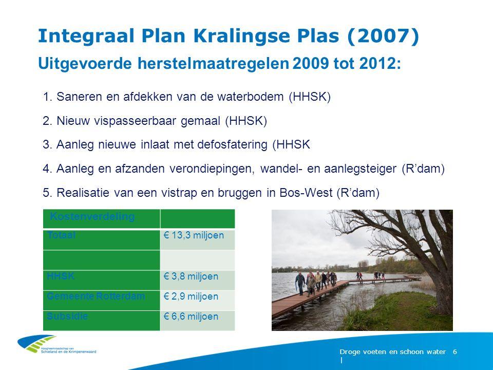 Droge voeten en schoon water | 6 Integraal Plan Kralingse Plas (2007) Uitgevoerde herstelmaatregelen 2009 tot 2012: 1.