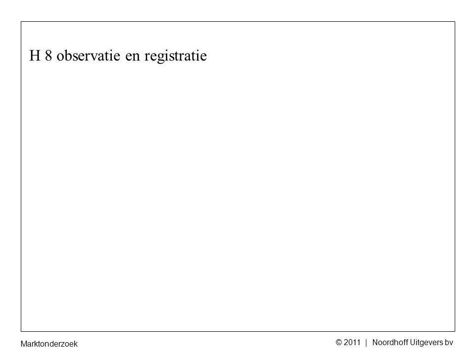 Marktonderzoek © 2011 | Noordhoff Uitgevers bv H8 A2 De student kan de voor- en nadelen van observatieonderzoek benoemen binnen een gegeven context.