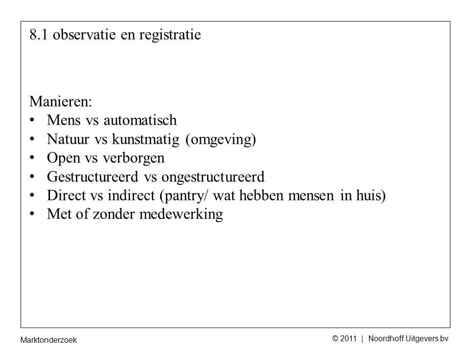 Marktonderzoek © 2011 | Noordhoff Uitgevers bv 8.1 observatie en registratie Manieren: Mens vs automatisch Natuur vs kunstmatig (omgeving) Open vs ver