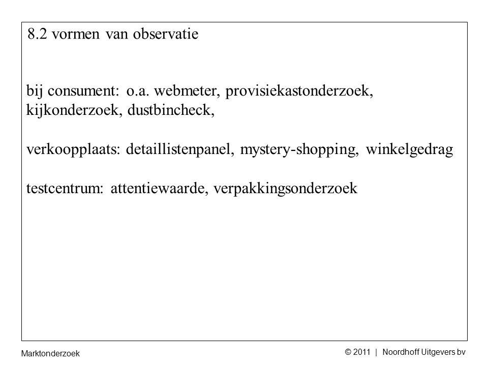 Marktonderzoek © 2011 | Noordhoff Uitgevers bv 8.2 vormen van observatie bij consument: o.a. webmeter, provisiekastonderzoek, kijkonderzoek, dustbinch